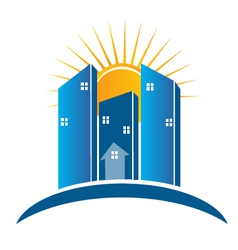 Modern Buildings with sun logo vector image vector image