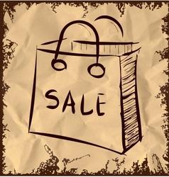 Sale bag icon on vintage background vector image vector image