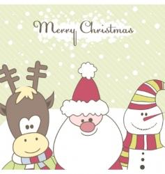 santa reindeer snow man illustration vector image