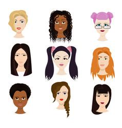 set of female faces isolated on white background vector image