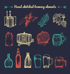 Set of vintage brewery elements retro vector