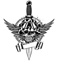 Skull in helmet wings and dagger vector image vector image