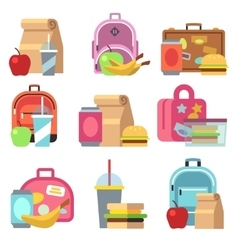 School lunch food boxes and kids bags flat vector image