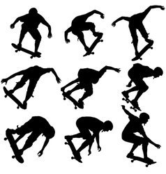 Set ilhouettes a skateboarder performs jumping vector image vector image