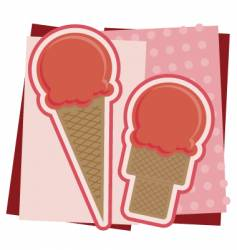 strawberry ice cream illustration vector image