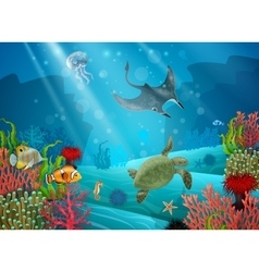 Underwater Cartoon Landscape vector image vector image