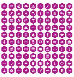 100 bridge icons hexagon violet vector
