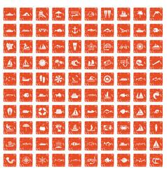 100 sea icons set grunge orange vector