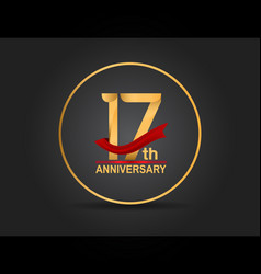 17 anniversary design golden color with ring vector