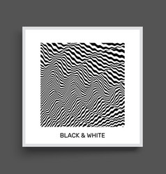 3d wavy background dynamic effect black and white vector image