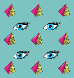 90s eyes and triangles background vector