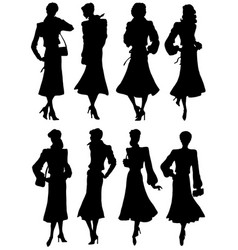 A collection silhouettes girls models vector