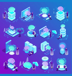 artificial intelligence isometric icons vector image