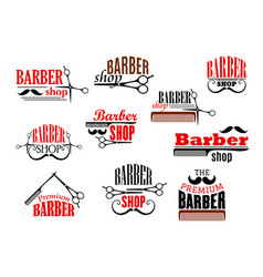 Barber shop beards and mustaches icons vector
