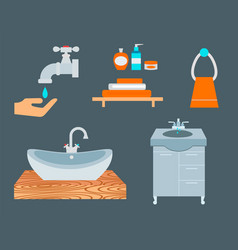 Bathroom icons process water savings symbols vector