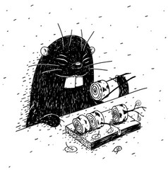 beaver eats birch vector image