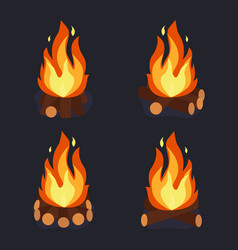bonfire and burning woodpile vector image