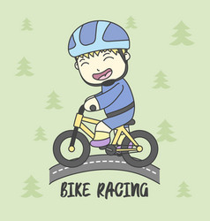 boy use safety riding for ride bike vector image