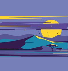 bright moonrise over desert sand dunes vector image