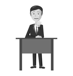 Businessman at table icon gray monochrome style vector image