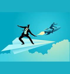 Businessman on paper plane compete with a vector