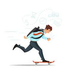 Businessman on skateboard hurrying to the office vector
