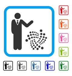 Businessman show iota framed icon vector