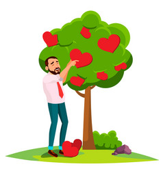 businessman standing near tree blossoming vector image