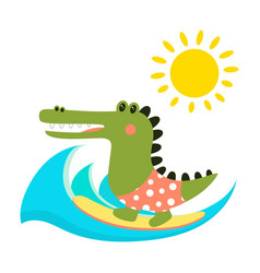 cartoon crocodile isolated vector image