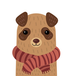 Cartoon portrait of a dog in a scarf stylized pet vector