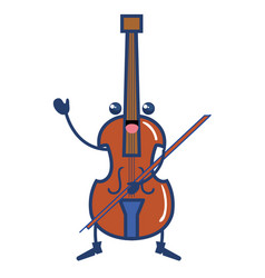 Cello musical instrument kawaii character vector
