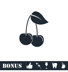 Cherry icon flat vector image