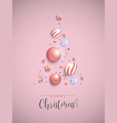 Christmas pink pine tree decoration layout card vector