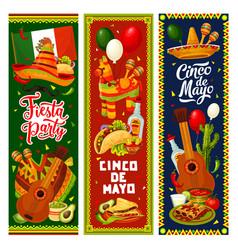 Cinco de mayo mexican sombrero guitar pinata vector