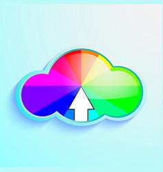 cloud download icon of rainbow vector image