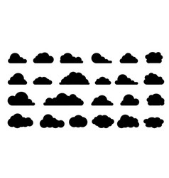 Clouds icon black silhouettes set clouds vector