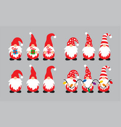 collection of gnome cartoon characters vector image