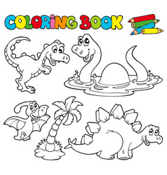 Coloring book with dinosaurs 1 vector