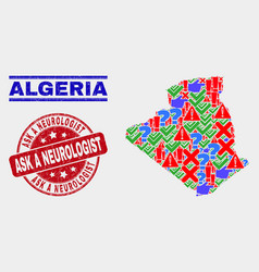 Composition algeria map sign mosaic and vector