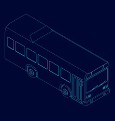 contour bus blue lines on a dark vector image