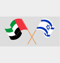 Crossed and waving flags israel and united vector