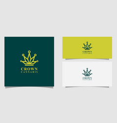 crown cannabis marijuana leaf logo vector image