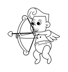 Cupid with love arch in black and white vector