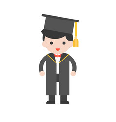Cute character graduation people and diploma in vector