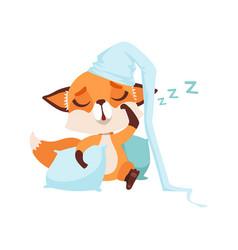 Cute fox character wearing hat sleeping on a vector