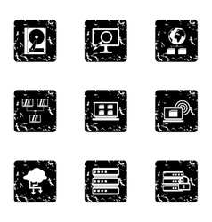 Data icons set grunge style vector