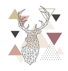 deer head in a geometric style on abstract vector image