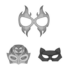 Design of hero and mask symbol set of hero vector