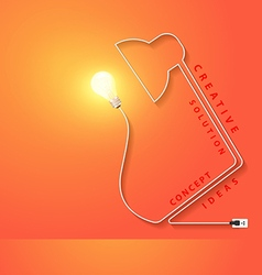 Desk lamp shaped electric cord energy vector