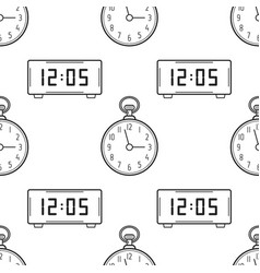 electronic watch and pocket watch black and white vector image